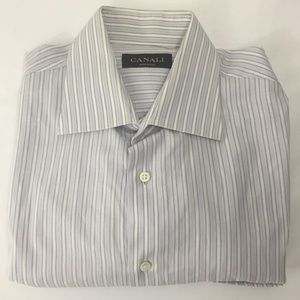 CANALI Long Sleeve Purple White Striped Shirt